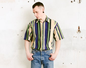 Striped Corduroy Shirt . Vintage Button Down Cord Shirt Short Sleeve Striped Summer Shirt Mens 90s Clothes Normcore Outfit . size Large L