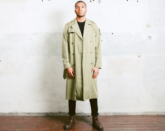 Green Trench Coat . Vintage 80s Mens Raincoat Unisex Autumn Coat Green Winter Coat Mens Duster Coat Topcoat Outerwear . size Medium Large