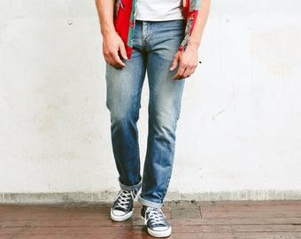 Blue Lee Jeans . Mens Denim Trousers Tapered Leg Retro 90s Jeans Everyday Clothing 90s Grunge Jeans Boyfriend Wear . size W30 L32