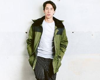 Men 90s Hooded Parka Coat . Vintage Parka Jacket Oversize Khaki Green Jacket Winter Jacket Men Clothing Boyfriend Gift . size Medium M