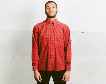 Vintage Corduroy Shirt . Long Sleeve Mens Red Shirt 90s Oxford Shirt Unisex Plaid Shirt Button Down Casual Shirt Menswear . size Large