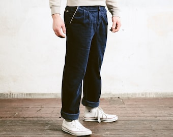 Blue Corduroy Trousers . Men's 90s Retro Clothing Straight Cord Pants Dad Wear Hipster Nerd Pants Blue Trousers . size XL Extra Large