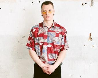 Men Patterned Shirt . Vintage Abstract Art Print Shirt Short Sleeve Casual Shirt Printed Shirt Soft Shirt 90s Clothing . size Medium M