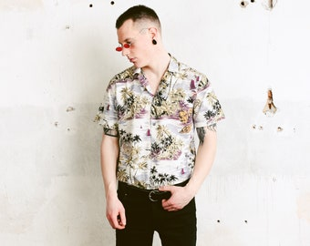 Vintage 70s Hawaiian Shirt . Summer Beach Shirt Palm Tree and Banana Print Button Down Shirt Hawaii Shirt 1970s Skater Shirt . size Medium