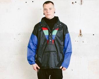 Colourblock Anorak Rain Jacket . Vintage Men's 80s Smock Jacket Wind Jacket Hipster Outfit 1980s Waterproof Windbreaker . size Medium M