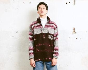 90s Men Fleece Jumper . Vintage Patterned Fleece Sweater Southwestern Aztec Sweater Oversized Comfy Sweater Boyfriend Gift . size Large L