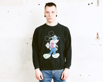 90s Mickey Mouse Sweatshirt . Men Black Sweatshirt Street Style Disney Cartoon Print Sweatshirt Boyfriend Wear Men Jumper . size Medium M