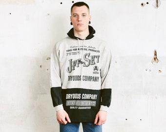 90s Hooded Sweatshirt . Vintage 90s Grunge Hoodie Grey Athletic Sweater Men Hoodie Everyday Clothing 1990s Activewear . size Large L