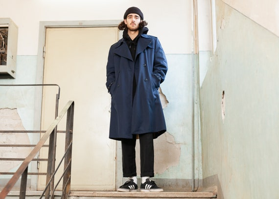 Man Trench Coat . Navy Blue Vintage Trench Coat Ma