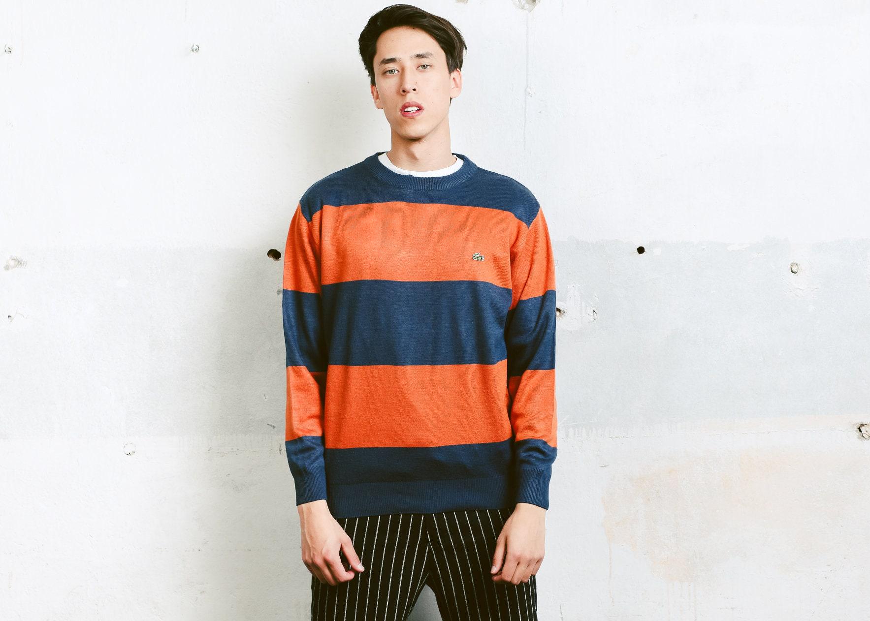 1739e3796d30 Striped Lacoste Sweater . Vintage Blue and Orange 90s Sweatshirt ...