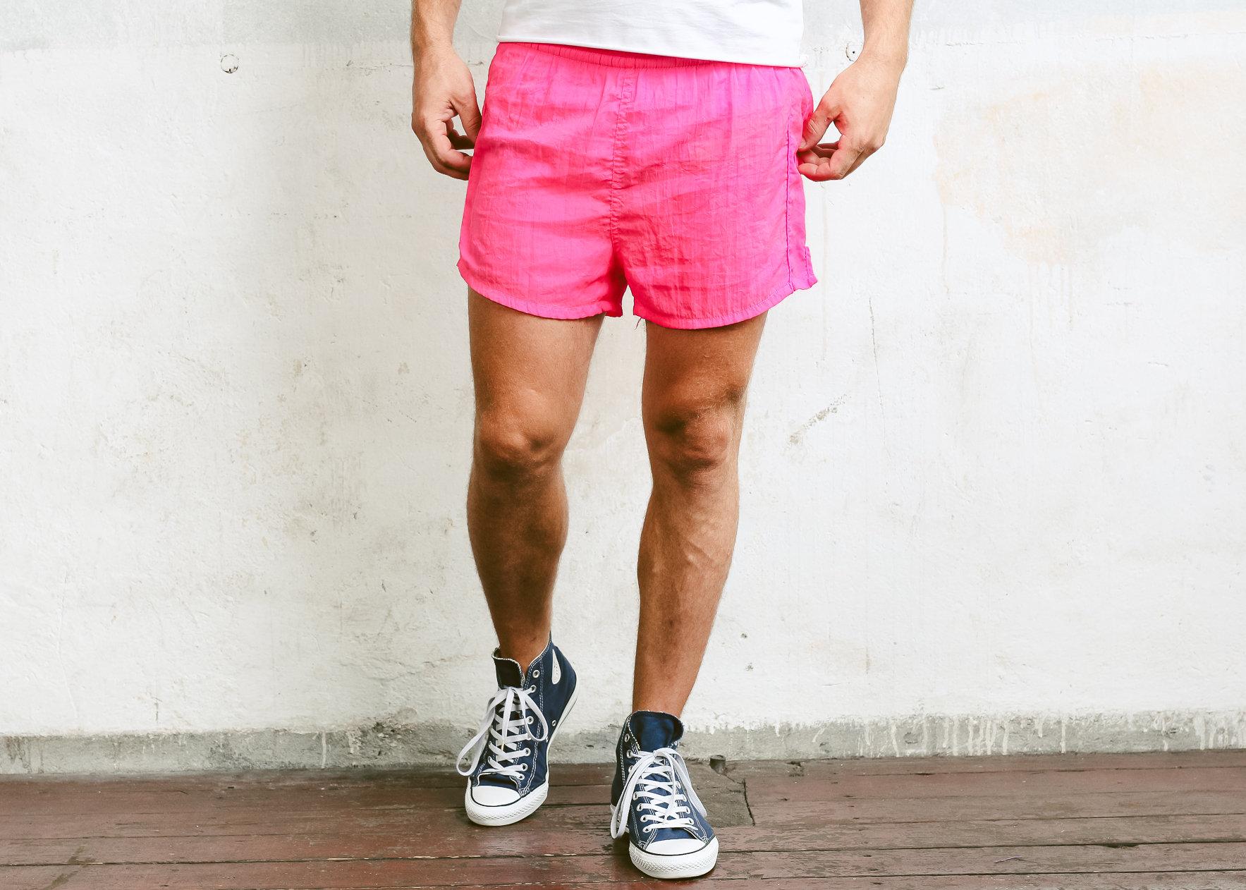 Retro Summer Pants 80s Surfer Shorts Vintage Beach Shorts Mens