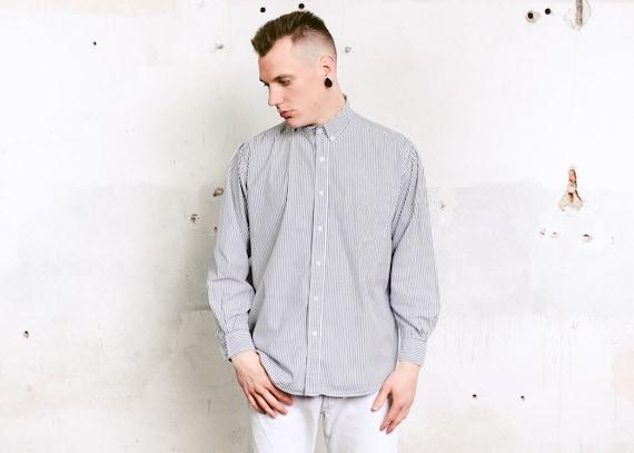 90/'s men/'s large gray striped button down shirt