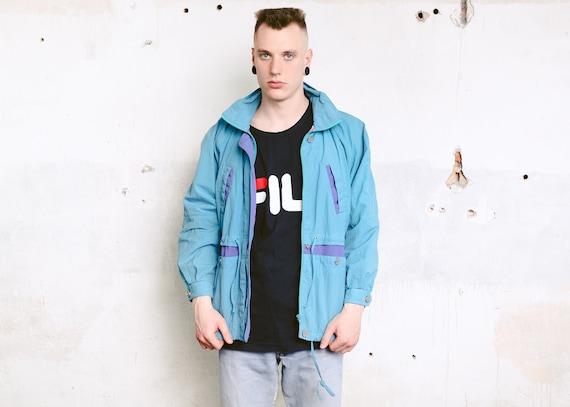 Kühne 90er Jahre Windbreaker Jacke. Vintage Shell Jacket Neon Blue Jacket 90s Jacket Men Spring Jacket Outerwear Parka Jacket. Größe Medium M