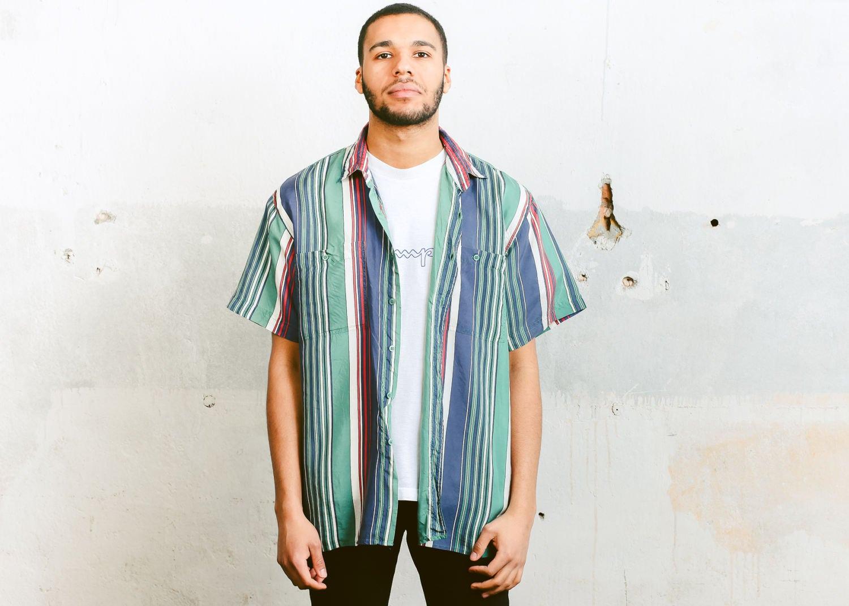 df0ee1351d4e Striped Silk Shirt . Men s Vintage Short Sleeve Striped Retro Shirt ...