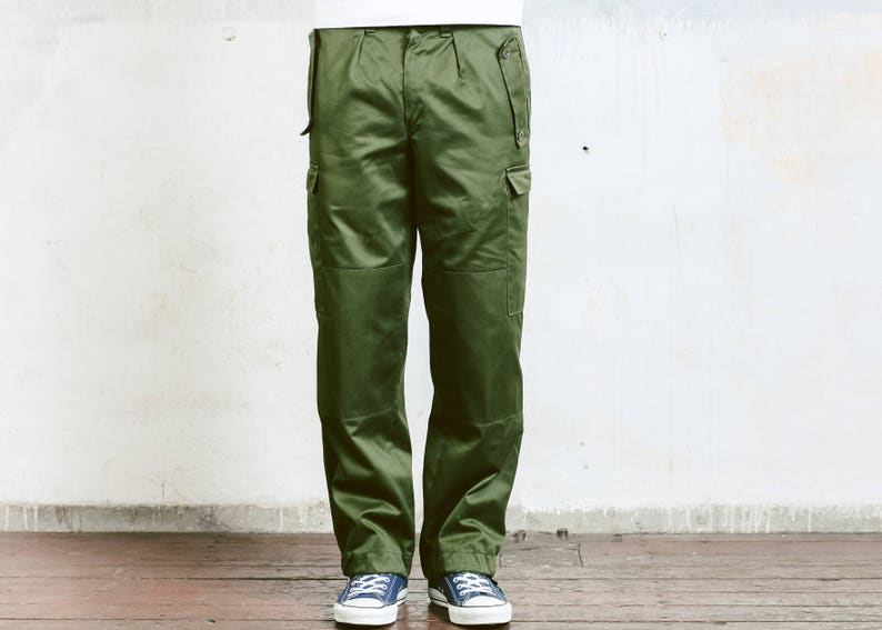 Mens Utility Pants . Vintage Military Style Work Trousers  b6631eab8a8