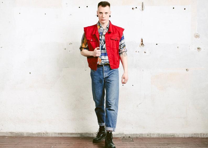 e94c83138 Red Denim Vest . Vintage Sleeveless Jean Jacket Distressed Denim Jacket  Unisex Jean Vest Classic Trucker Vest . size 42 Large L