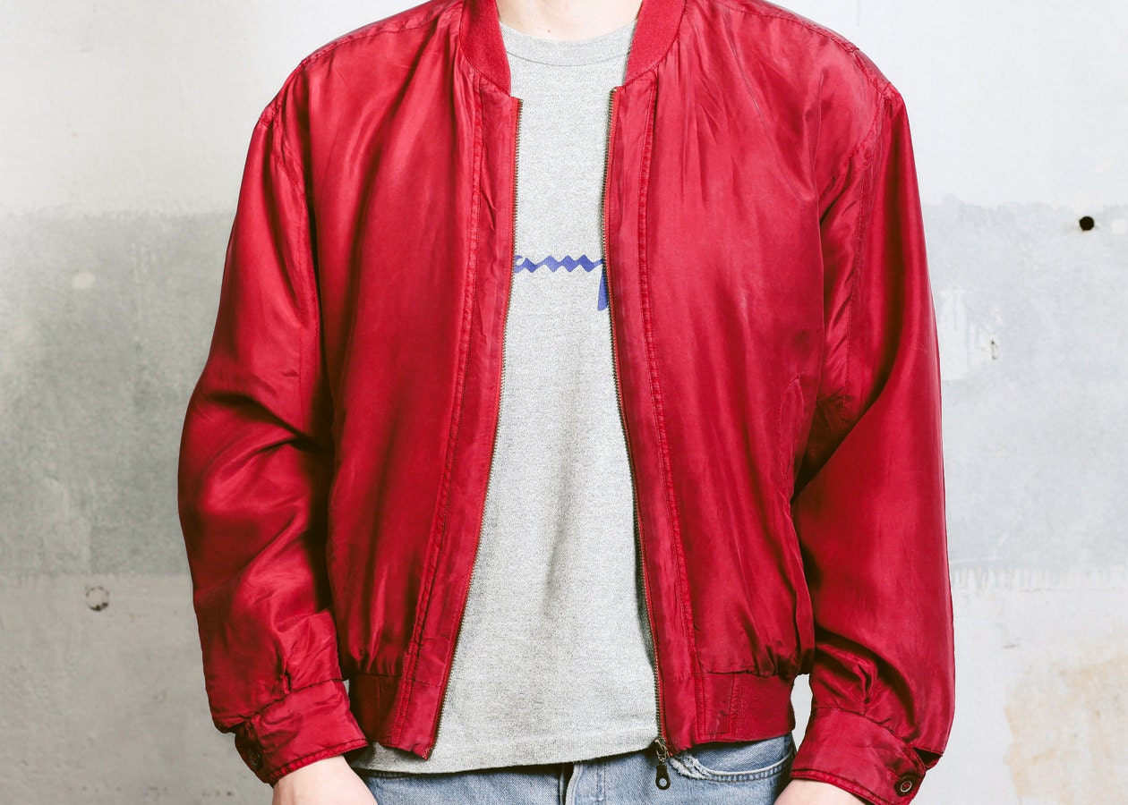 5d70db60b68 SILK BOMBER Jacket . Oversized Mens Vintage 90s Unisex Red Lightweight  Spring Windbreaker Outerwear Flight Jacket . size Small