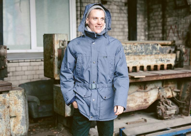 size Large L Vintage Men Hooded Oversize Parka Coat Winter Jacket Men 90s Clothing Casual Parka Men Outerwear 80s Grey Parka Coat