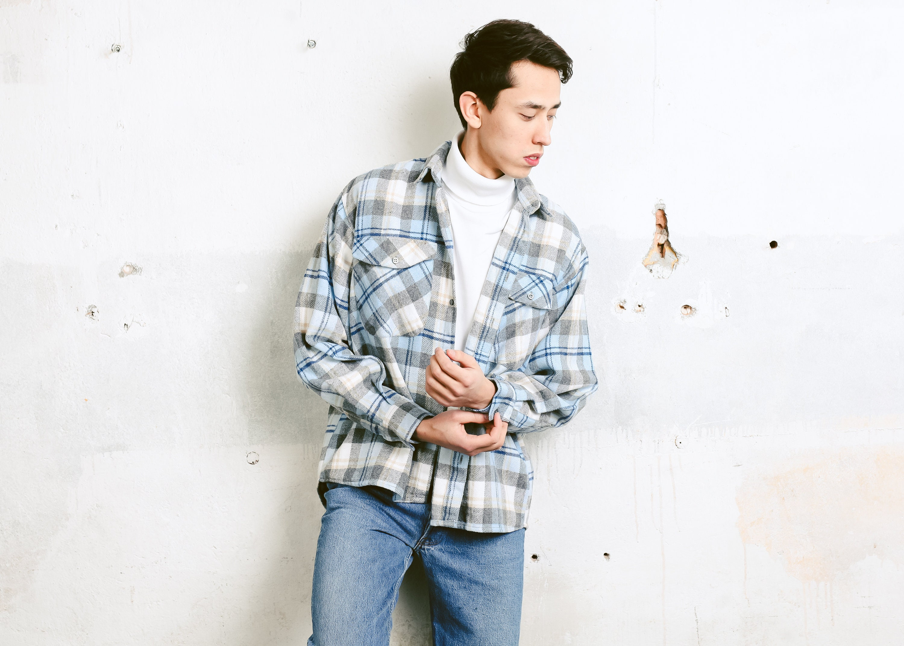 Plaid Flannel Shirt Vintage Men 90s Shirt Grunge Shirt Boyfriend