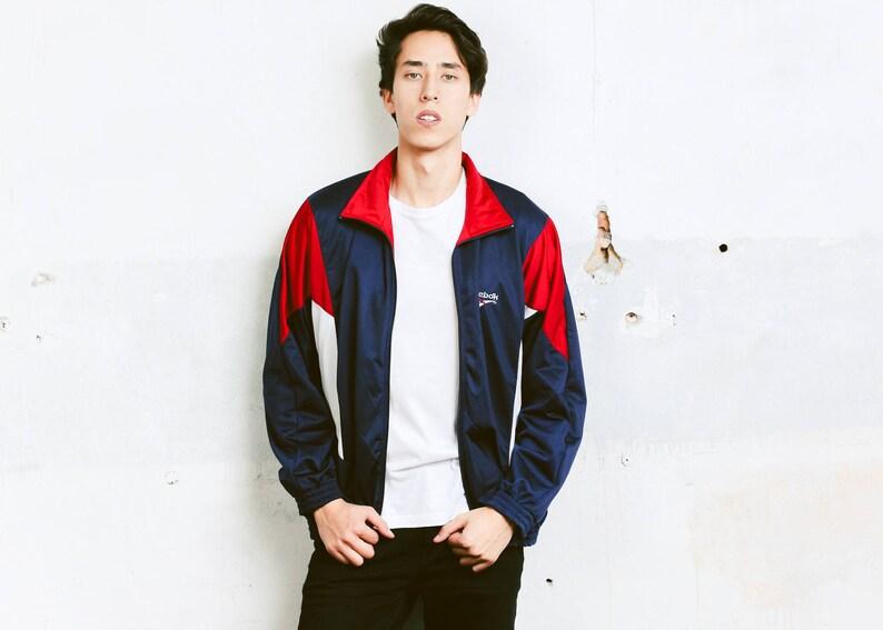 de7b42b020789 Reebok Sports Jacket . Vintage Blue 90s Jacket Zip Up Track Jacket Blue  Tracksuit Top Activewear Rave Party Top 90s Clothing . size Large L