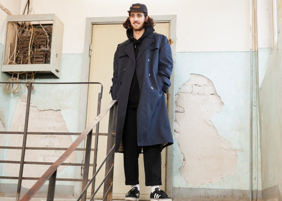Vintage Trench Coat . Navy Blue Men's Trench Coat
