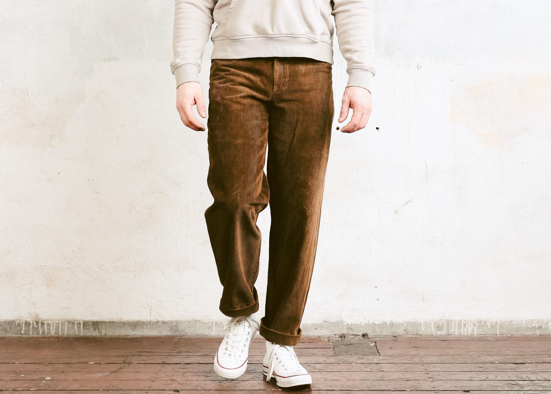 70s Men Corduroy Pants Vintage Brown Cord Trousers Nerd
