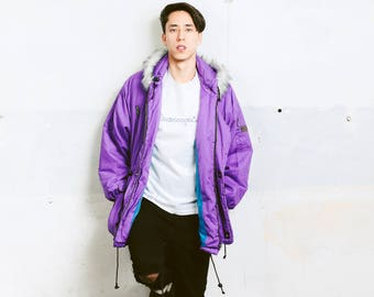 Men's Insualted Ski Jacket . Vintage Faux Fur Hooded Winter Jacket Purple 90s Jacket Outerwear Mens Winter Wear 90s Clothing . size Medium M