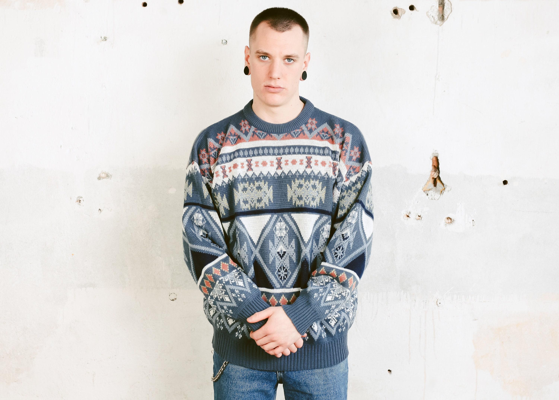 90s Knit Southwestern Sweater Vintage Men Sweater Patterned