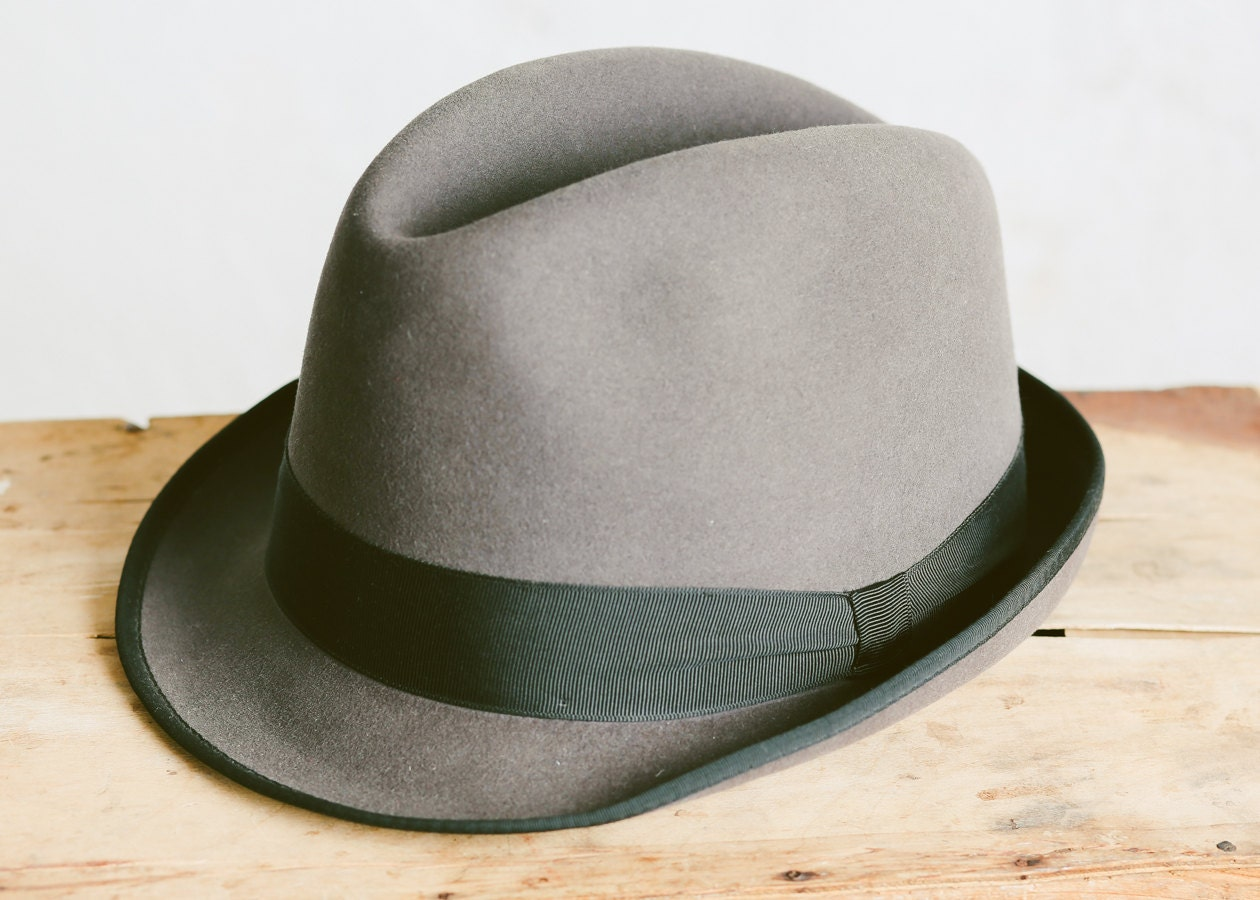 Vintage 50s Fedora Hat . Men s Hat Grey Felt Boston Hat Bowler Hat ... 0b1ddc3e37b