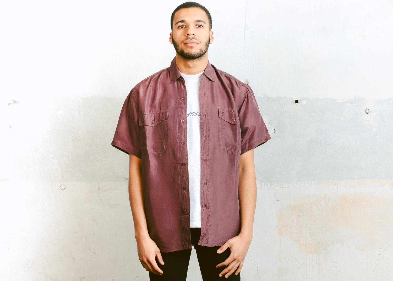 ee4b7b0054f Vintage Silk Shirt . Men s 90s Summer Shirt Lightweight Shirt Button ...
