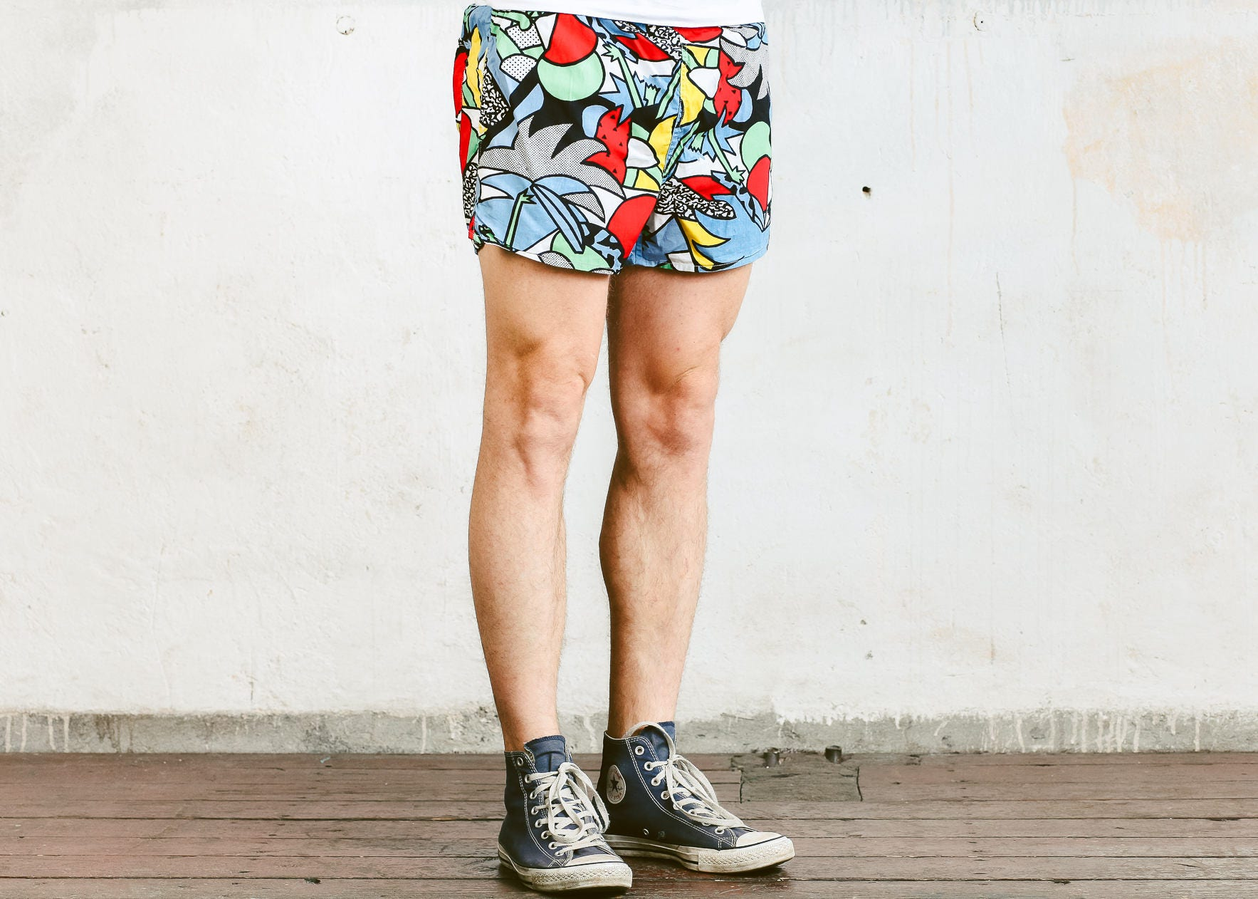 dbed60f798 Mens Swim Shorts . Vintage 90s Printed Beach Shorts Swim Trunks ...