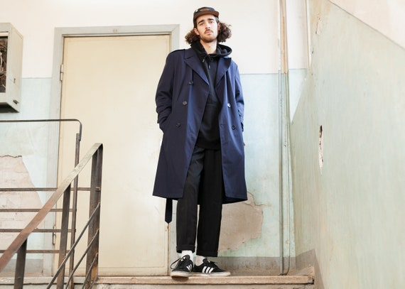 Navy Blue Detective Coat . Vintage Trench Coat Man