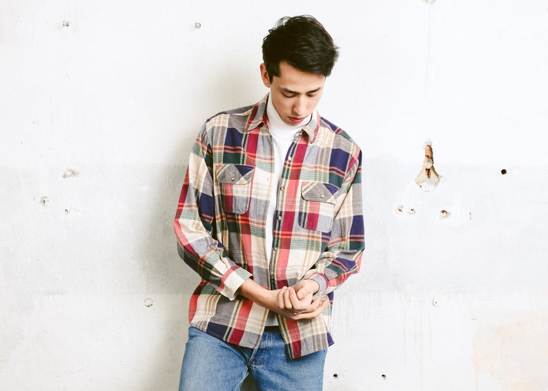 Vintage Men Plaid Flannel Shirt 90s Shirt Grunge Shirt Etsy