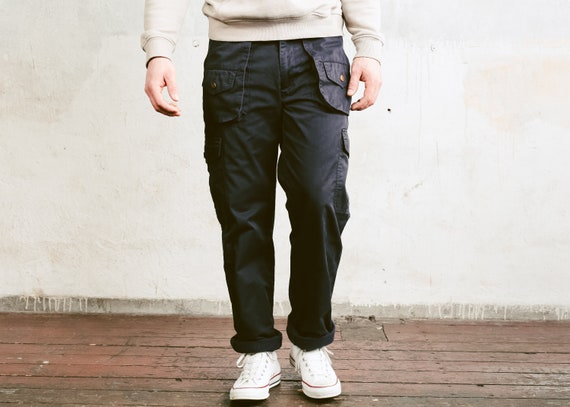 detailed pictures in stock select for newest 90s Dark Blue Utility Pants . Men's Cargo Trousers Tapered Pants Nerd Pants  Relaxed Casual Bottoms Work Pants . size Large / 50