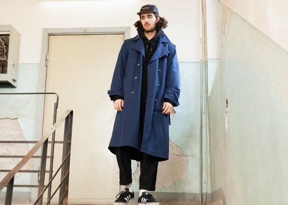 Vintage Men's Trench Coat . Navy Blue Trench Coat
