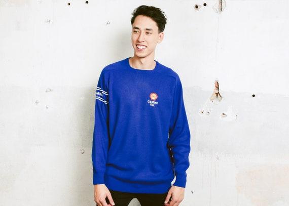 eb5b0de3509 Vintage SHELL Sweatshirt . Blue Slouchy Sweatshirt .0s Mens | Etsy