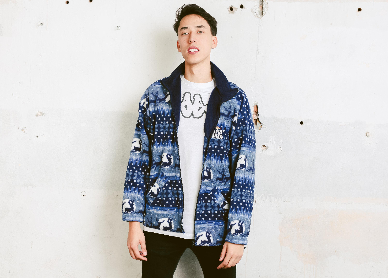 Vintage Men Fleece Jacket . Reindeer Print Christmas Sweater 90s ...