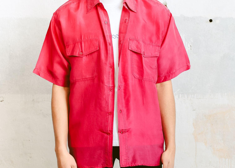 0deafc56543 Pink Vintage Shirt . 90s Mens Short Sleeve Silk Summer Shirt Minimalist Top  Super Lightweight Shirt Mens Unisex Clothing . size Medium M