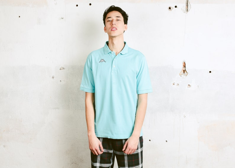 c9395fafa2a91 Aquamarine Kappa Polo Shirt . Men 90s Minimalist Top Retro Cotton T-Shirt  Activewear Mens 90s Tee Shirt Menswear Golf Shirt . size Medium
