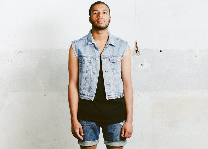 e8740efeb Mens Denim Vest . Vintage Light Wash Jean 90s Jacket Unisex Jean Vest Faded  Trucker Vest Sleeveless Top Hipster Jean Vest . size Medium M