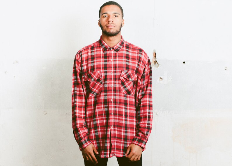 Bedwelming Geruite Flanel hemd voor mannen. Vintage jaren 90 kleding | Etsy #QD24