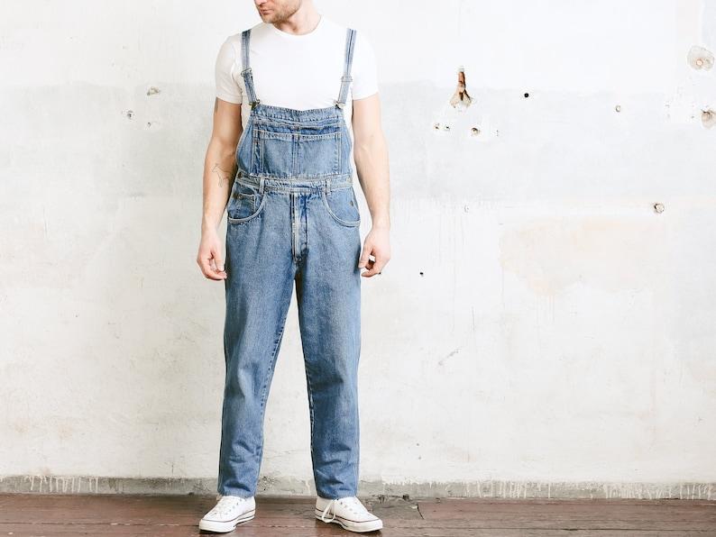 Medium Wash Denim Overalls Bib Overall Pants 90s Jean Workwear Unisex Mechanic Jumpsuit size Large Men/'s Vintage Dungarees