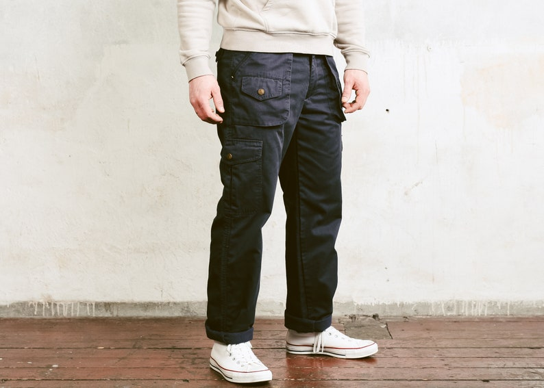 size Large  50 Men/'s Cargo Trousers Tapered Pants Nerd Pants Relaxed Casual Bottoms Work Pants 90s Dark Blue Utility Pants