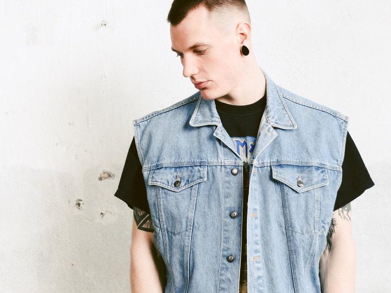 35de12fa5 Light Wash Punk Denim Vest . Vintage Jean Vest Sleeveless Denim Jacket  Trucker Vest Rocker Vest Faded Blue Vest Gilet . size Large L