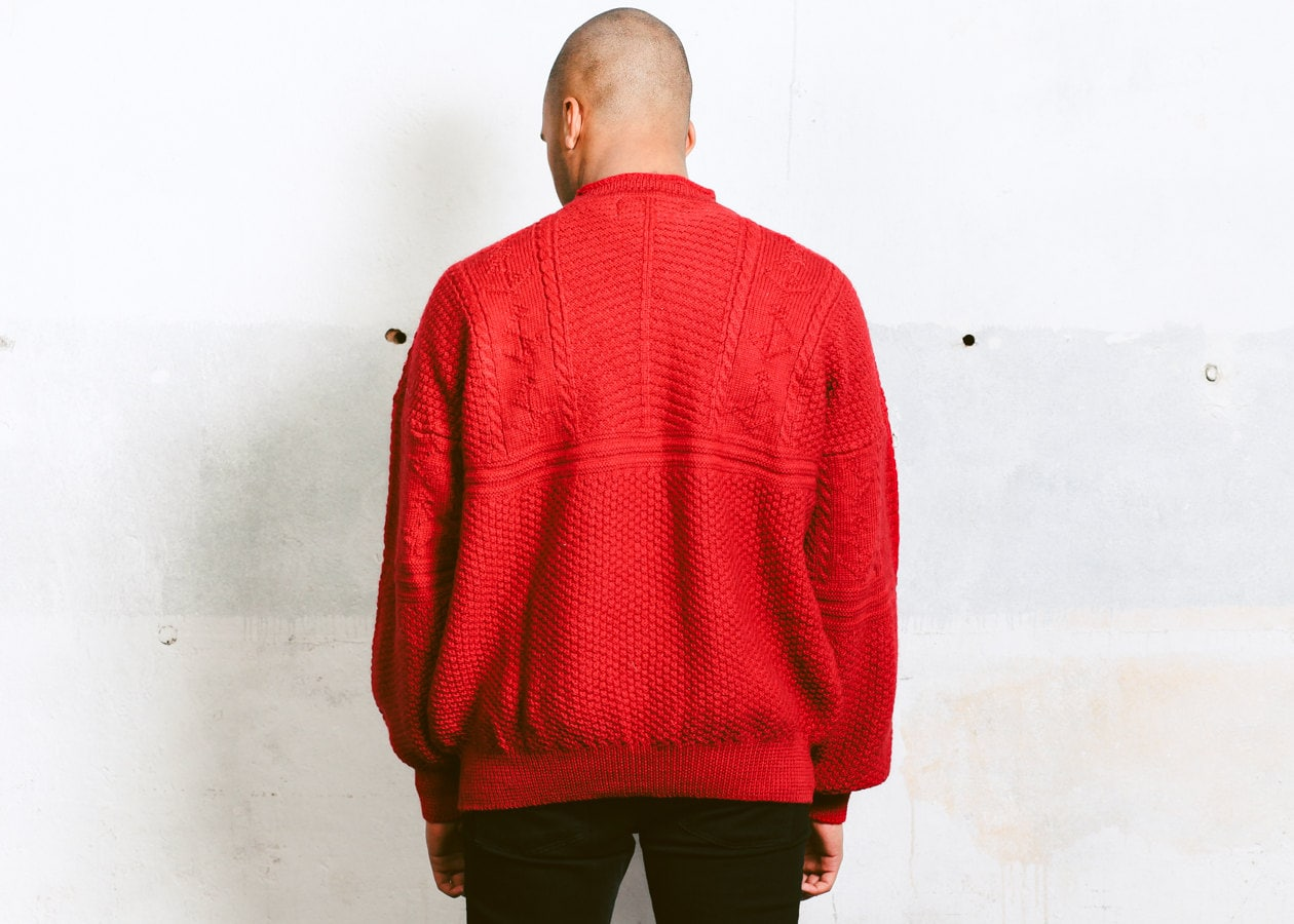 3fe5057aab Cable Knit Sweater . Vintage 90s Red Pullover Mens Slouchy Wool ...