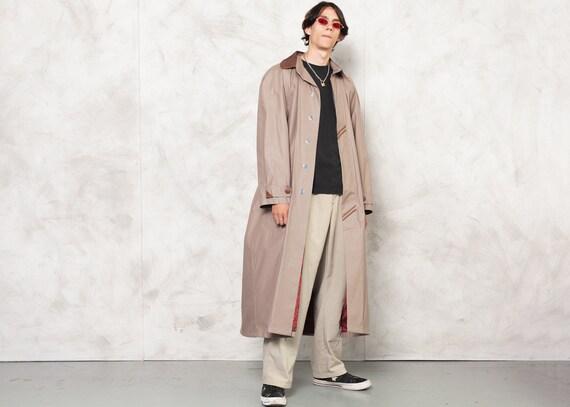 Dark Beige Men's Long Coat Vintage 1990s Men's Mac