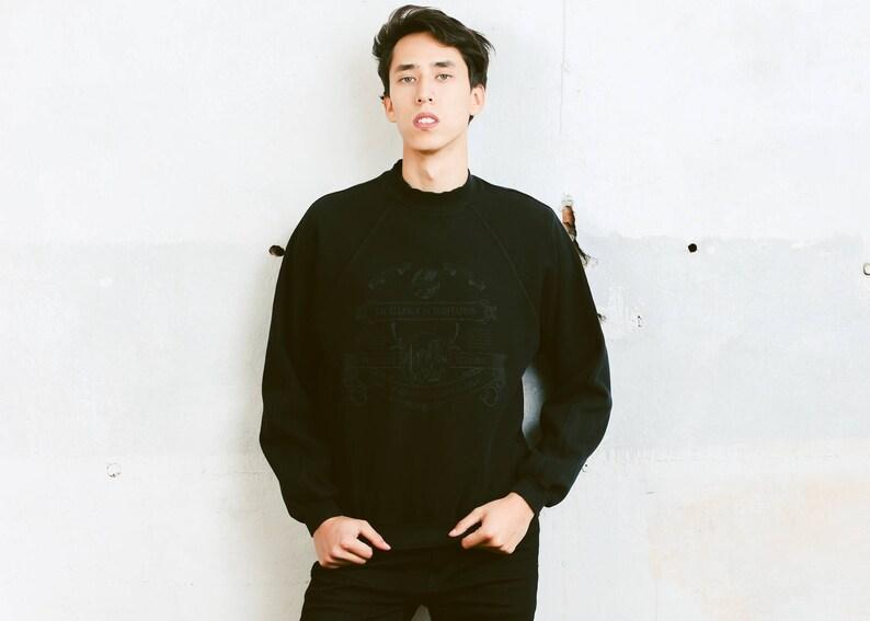 9cd4f81a182 Mens Black Jumper . Vintage 90s Pullover Men Retro Sweatshirt | Etsy