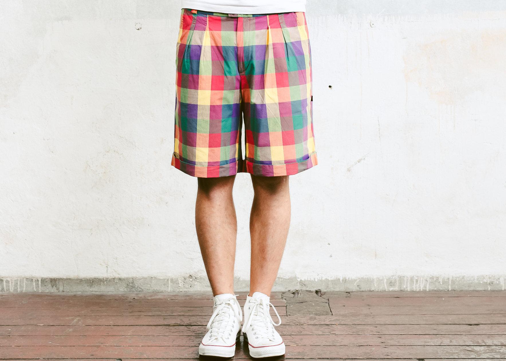 80s Mens Check Print Shorts Vintage Bermuda Shorts Rainbow Plaid