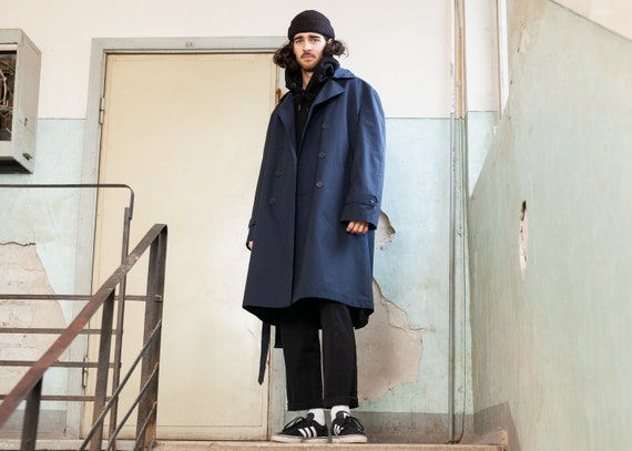 Navy Blue Trench Coat . Vintage Trench Coat Man Co