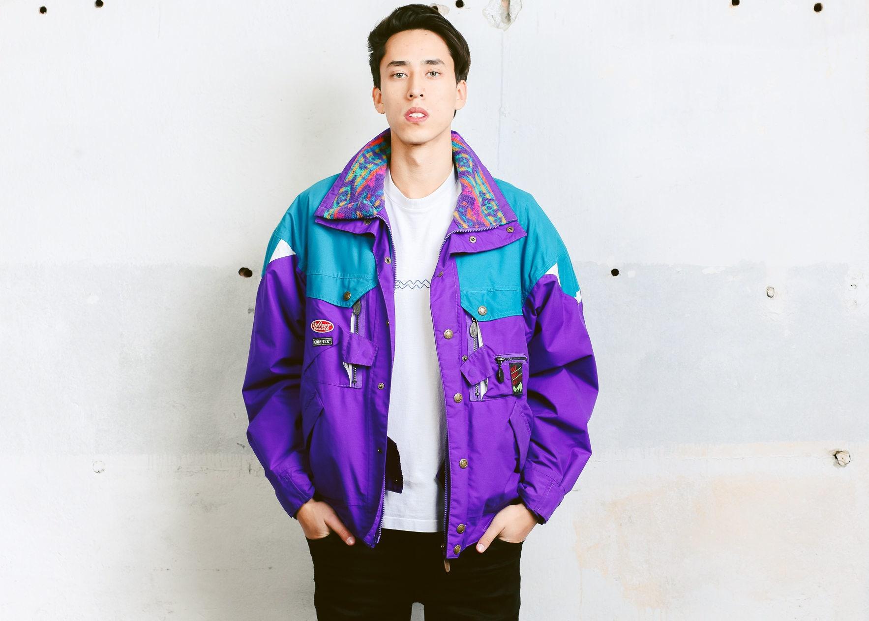 6d65086cf3 Mens Ski Jacket . Men 90s Parka Jacket Winter Jacket Zip Up Colorful ...